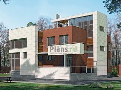 Проект трехэтажного дома 15x15 метров, общей площадью 227 м2, из керамических блоков, со вторым светом, c террасой, котельной и кухней-столовой